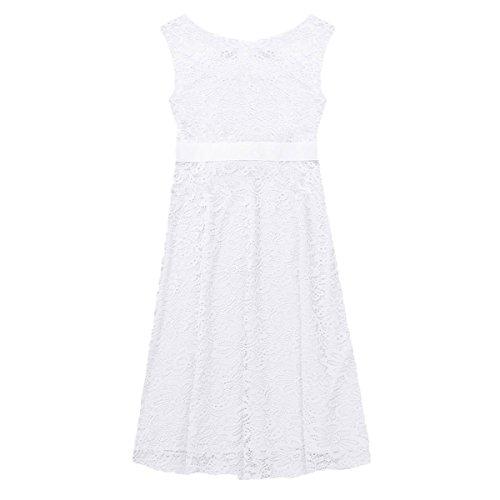 Tiaobug Damen Umstandskleid Spitzenkleid Frauen Schwangerschafts Kleid V-Ausschnitt Mutterschafts Kleid Fotografie Stillkleid mit Geknotetem Dekolleté Weiß Ärmellos - 5