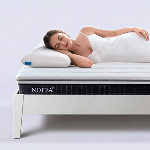 NOFFA Topper Colchón Viscoelástico de Memory Foam | Cubrecolchón de 5 cm de Grosor, Sobrecolchón con Funda Suave Extraíble y Lavable (150 x 200 x 5 cm)