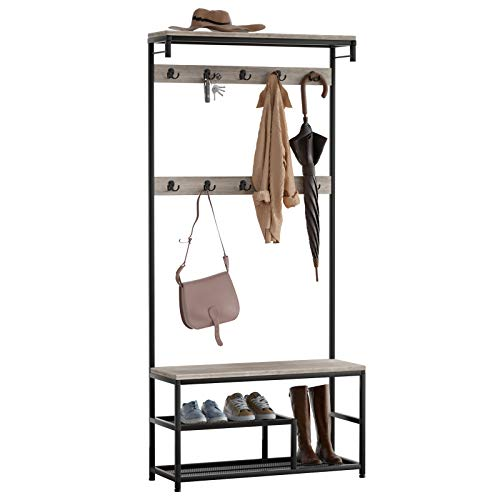 SeiriOne Coat Rack, Shoe Bench, Hall Tree with Storage shelf for Entryway, 10 Double Hooks, Wood Look Accent Furniture and Metal Frame, Greige, 31.5'' x 9'' x 70.8''