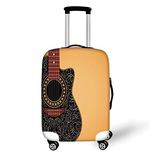 Travel Luggage Cover Suitcase Protector,Guitar,Clipped Guitar with Vintage Floral Folk Ornaments Musician Hobbies Decorative,Pale Orange Black Maroon,for Travel,M