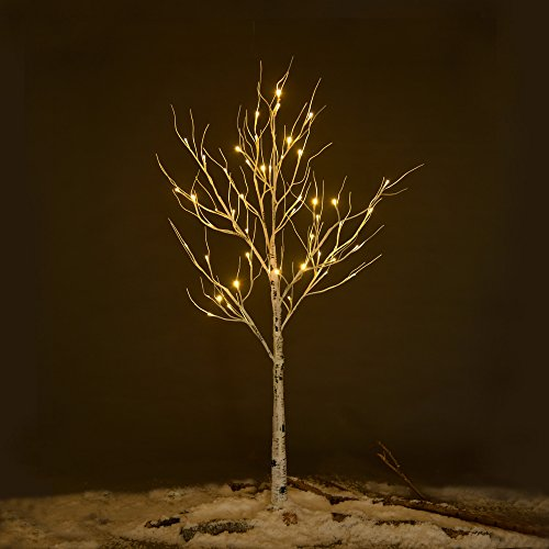 ECOLINEAR Prelit Birch Tree 48 LEDs Light Silver Twig Warm White White Branches (4 Feet) Home Festival Party Christmas Indoor and Outdoor
