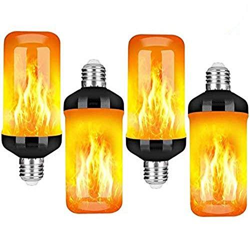 HLL Flamme Glühbirne Flammen Lampe Flammeneffekt Glühlampe Schwerkrafsensor 4 Modi Dekorative Atmosphäre für Familie Party Outdoor Halloween Weihnachten (4W E27 Base)