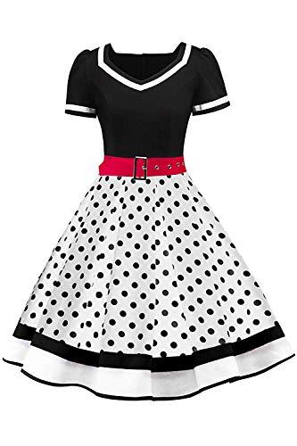 AXOE Damen Petticoat Kleid 50er Jahre Rockabilly Cocktailkleid Polka Dots Schwarz mit Weiß, Gr.40, L