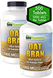 Oat Bran Tablets | 1,000 MG/Tablet | Soluble & Dietary Fiber Supplement | Supports Digestive Health & Healthy Cholesterol Levels | 2 Bottles for 1 | 2x250 = 500 Tablets | High Potency Formula