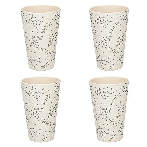 KitchenCraft Natural Elements Bambus-Tassen-Set, Bambusfaser, Spachtelgrau, 450 ml, 4-teilig