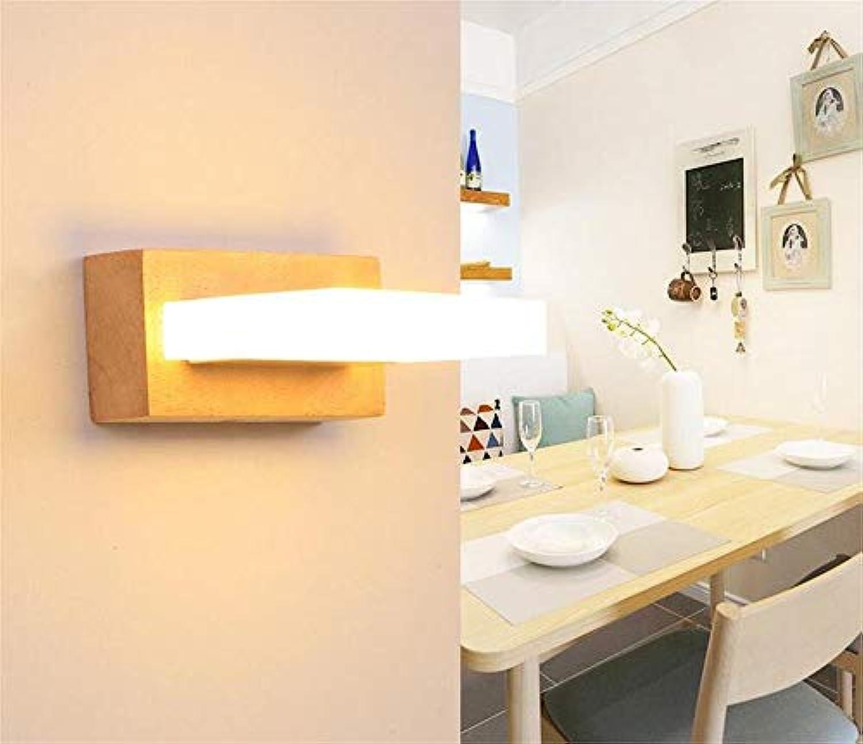 KAIASlink Einfache stilvolle Holz LED Badezimmerspiegel Frontleuchten Treppe Gang Schlafzimmer Wandleuchte (Farbe  Single-Head Warmwei)