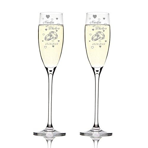 Leonardo 2er Set Sektgläser mit Gravur - Hochzeitsgeschenk für Brautpaare - personalisiert mit Namen und Datum als Geschnek zur Hochzeit Motiv - Zwei Ringe mit vielen Herzen