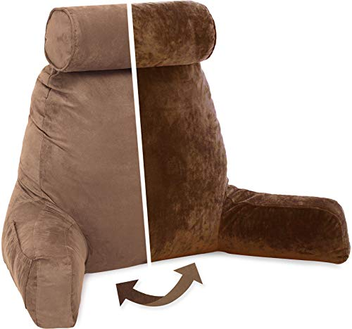 Husband Pillow, Aspen Edition - Reading and Bed Rest Pillow with Arms - Neck Roll on Bungee Cord or Removable - Premium Memory Foam - Reversible Two-Sided Cover Microsuede or Microfiber, Saddle Brown