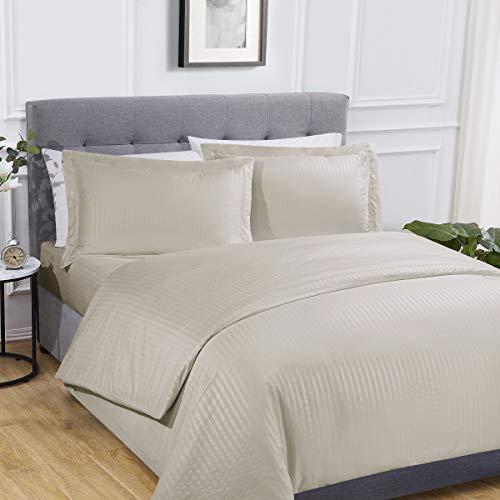 Sleepdown Juego de Funda de edredón y Funda de Almohada de satén con sábana Bajera Ajustable, tamaño King, poliéster