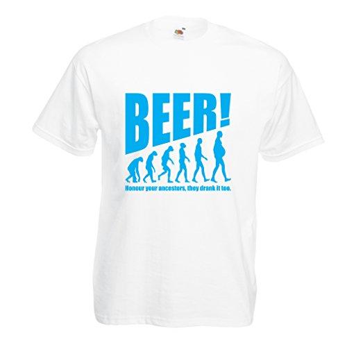 Männer T-Shirt Die Beervolution - einzigartige lustige sarkastische Geschenkideen für Bierliebhaber, trinkende Evolution (Medium Weiß Blau)