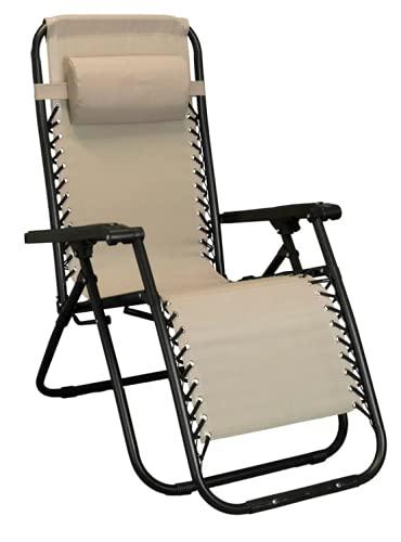 sedia sdraio 0 gravity Sdraio pieghevole da giardino in acciaio e textilene automatica zero gravity (Beige)