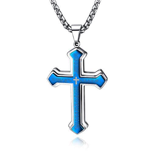 J.May Collar con Colgante De Cruz De Acero Inoxidable para Hombre,con Cadena De Plata Cubana, De 60 Cm (Azul)