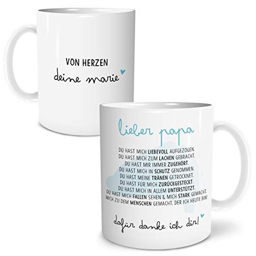 OWLBOOK Danksagung Papa große Kaffee-Tasse mit Namen personalisiert im Geschenkkarton Geschenkidee Geschenke Vatertag Vatertagsgeschenk Vater