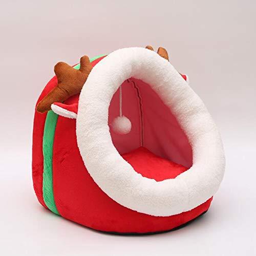 MC.PIG PET Tent Bed - Semi-Closed Warm Kennel Cat Litter Plus Velvet Deep-Sleep-Haustier-Nest-Iglu-Bett (Color : Christmas Fawn, Size : S)