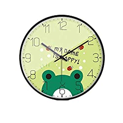LL-Enjoyy Cartoon Style Wall Clock, Metal Frame Paper Coated Dial Glass Mirror Quartz Clock, Children's Room Kindergarten School Wall Decoration, 3030cm,Frog
