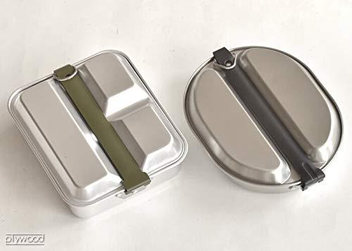 """""""メスキットパン""""という、調理器具と食器(フタ部分)がセットになったアウトドア用クッカーもありますよ。ステンレス素材なので、シングルバーナーやガスコンロなどで直火調理可能。  メスティンのように持ち手が折りたためるようになっているので、携帯するときはコンパクトになります。"""
