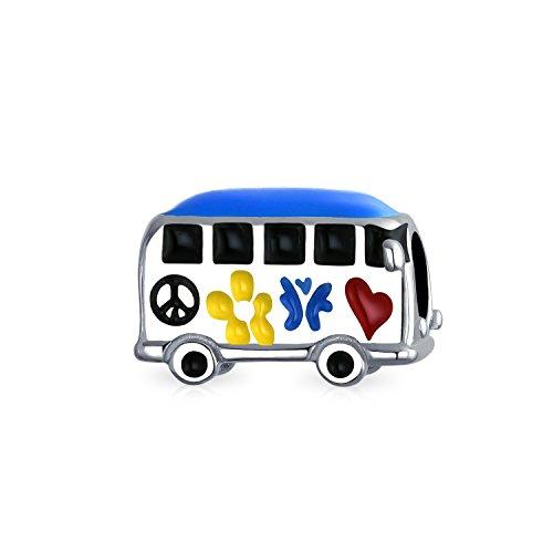 Amor, Paz Hippie Bus 1960 Multicolor Albalorio Para Adolescentes Mujer De En Plata Esterlina Oxidado Pulsera Europea