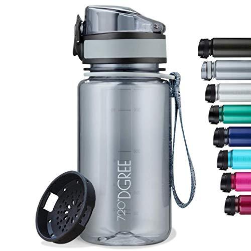 """720°DGREE Kinder Trinkflasche """"uberBottle"""" crystalClear +Sieb - 350 ml - BPA-Frei, Auslaufsicher - Für Schule, Kindergarten, Mädchen & Jungs ab 3 Jahre - Kleine Wasserflasche - Leicht, Bruchsicher"""