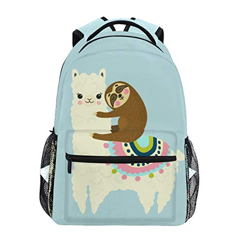 VIKKO Cute Llama Alpaca Sloth Best Friends Backpack School Student Bookbag College Students Laptop Computer Bag Travel Hiking Casual Daypack for Kids Adults
