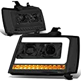 DNA Motoring HL-HPL-CSA07-SM-CL1 Smoked Lens Sequential Signal LED DRL Projector Headlights Replacement For 07-13 Avalanche
