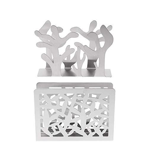 Mein HERZ 2 Pzs Porta Carta in Acciaio Inox Portatovaglioli in Metallo,Pratico Supporto per Tovaglioli da Cucina per La Tavola O per Il Piano di Lavoro, Modellazione Botanica e Stile Plaid(Argento)