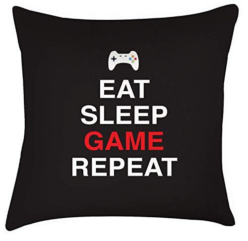 Mengghy Funda de cojín con texto en inglés 'Eat Sleep Game Repeat Gaming Play', impresión de videojuegos, decoración del hogar, regalos para padre niño de 45,72 cm