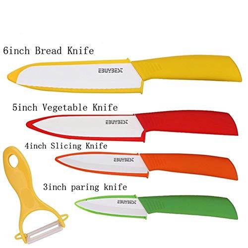 Cuchillo de cocina afilado Cerámica del cuchillo de serrado Cuchillo de pan + Peeler de la lámina blanca de óxido de zirconio cuchillos de cocina del cuchillo del cocinero utensilios de cocina
