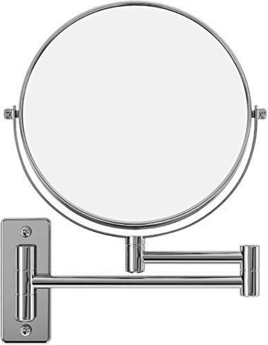 Espejo de Baño Pared 8 Pulgadas Espejo Tocador de Pared 5X Aumento Giratorio de 360 Grados Espejo Redondo de Doble Cara Extensible y Plegable