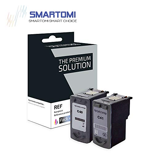 SMARTOMI Remanufacturado PG40 CL41 Compatibles con Canon PG-40 CL-41 Cartucho para Pixma iP1200 iP1300 iP1600 iP1700 iP1800 iP2200 iP2600 MP140 MP150 MP160 MP190 MP210 MP220 MP460 MP470 MultiPass 450