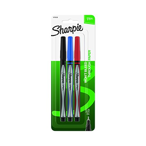 Sharpie Pens, Fine Point (0.8mm), Assorted Colors, 3 Count