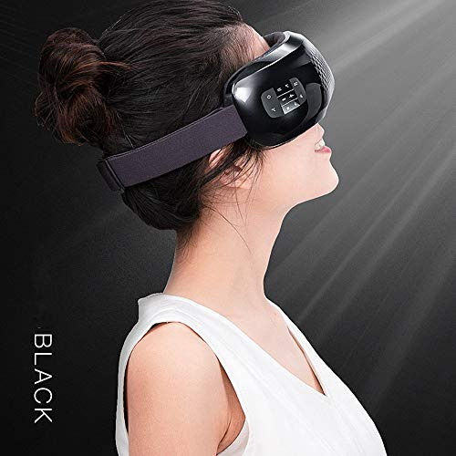 HGJDKSJ Draadloze massage-apparaat, bluetooth-slaapmasker, hot pack-massage, bluetooth-muziek, vermindering van de kringen rond de ogen, verwijdering van vermoeidheid en ontspanning van de ogen. zwart