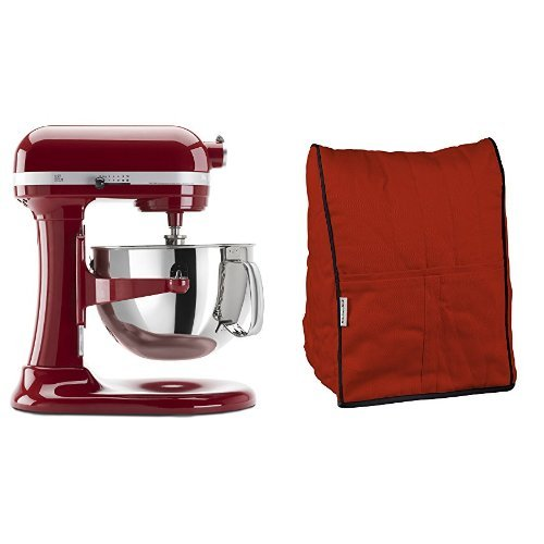 KitchenAid KP26M1XER 6 Qt. Professional 600 Series - Empire Red and KitchenAid KMCC1ER Stand Mixer Cloth Cover - Empire Red Bundle