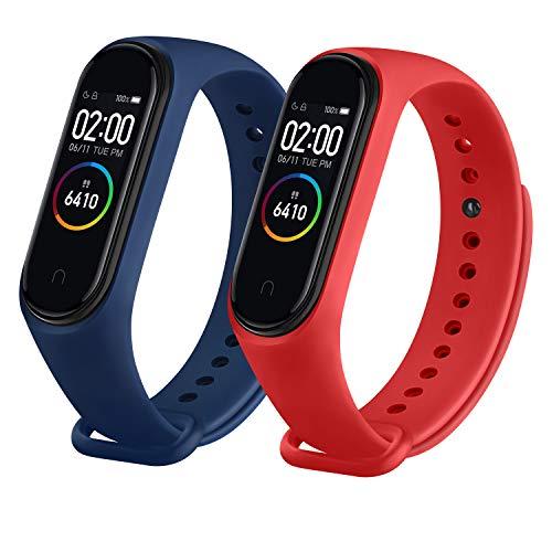 ZHIENG 2Pack Correas Compatible con Xiaomi Mi Band 4 Xiaomi Mi Band 3, Pulseras Reloj Silicona Correa Original para Xiaomi Mi Smart Band 4 (No Host) (Azul marino/Rojo)