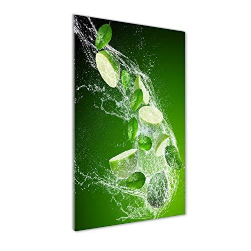 Tulup Impresión en Vidrio - 60x120cm - Cuadro sobre Vidrio - Pinturas en Vidrio - Cuadro en Vidrio - Impresiones sobre Vidrio - Cuadro de Cristal - Comidas Y Bebidas - Verde - Limas