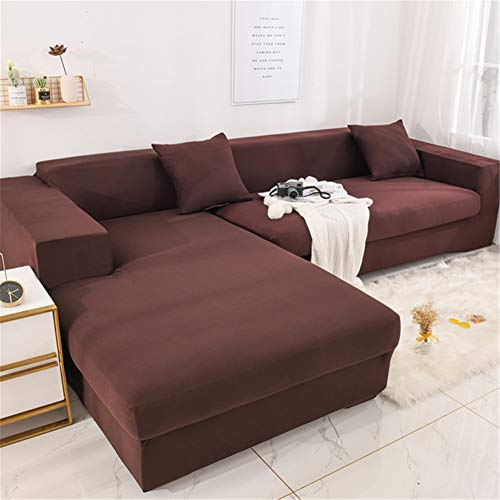 Hiser Elastic L Shape Sofa Covers 2pcs Sectional Sofa Covers Chaise Longue Stretch Slipcovers Furniture Protector Removable Full Covered Home Décor (brown,3 seats + 4 seats)
