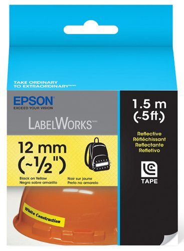 Epson LabelWorks Reflective Cartridge 1/2-Inch Black on Yellow (LC-4YBR1)