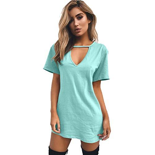 MSDRESS dames jurk vrouwen T-shirt jurk halsband V-hals zomer jurken korte mouwen halster losse strandjurk plus maat blauw