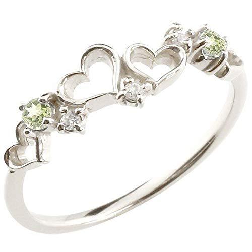 [アトラス] Atrus リング レディース ハート sv925 スターリングシルバー ダイヤモンド ペリドット ピンキーリング 指輪 華奢 8月誕生石 宝石 4号