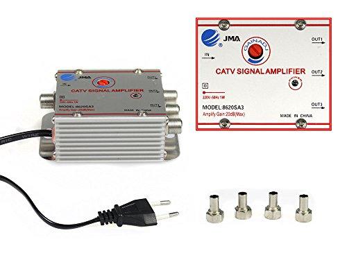 Vetrineinrete Sdoppiatore e amplificatore segnale televisivo tv 1 ingresso 3 uscite per antenna digitale terrestre 1 in 3 out G3