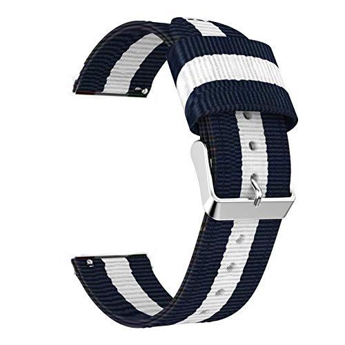 DFKai1run Correa de Nailon, Correa de Nylon de 20 mm 22mm para Ver el Bucle Deportivo de 42 mm 46mm S3 para Ver Estilo clásico (Band Color : Blue White, Band Width : 22mm Huawei Watch GT)
