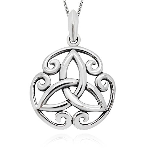 925 Sterling Silver Celtic Trinity Knot Round Pendant Necklace 18' for Women