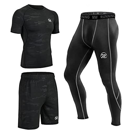 MEETEU Abbigliamento Sportivo Uomo, Quick-Dry T Shirt, Baselayer Compressione Collant Leggings, Gym...