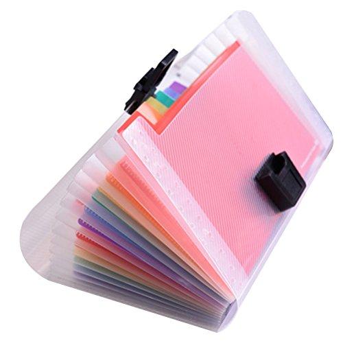 YEAHIBABY Accordian Ordner,Dokumentenmappe din A6,Kunststoff Veranstalter Ordner für Zuhause oder Büro,13 Taschen