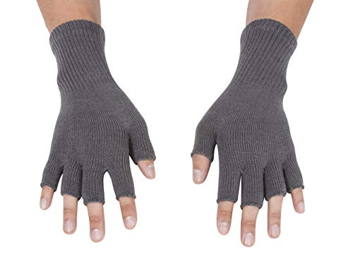 Gravity Threads Unisex Warm Half Finger Stretchy Knit Fingerless Gloves, Grey