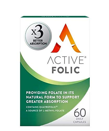 New Active Folic | Folic Acid for Pregnancy | x3 Greater Absorption | Vegan Folic Acid Supplement Containing Methyl Folate | 60 Tablets