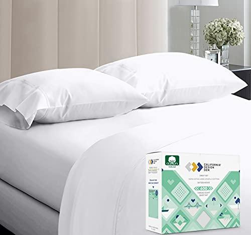 600-Thread-Count Best 100% Cotton Sheets & Pillowcase Set - 4 Pcs,...