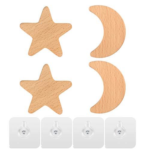 Gancio da parete per bambini, Attaccapanni, Appendiabiti a Parete Legno Ganci, Pomello in Legno a Forma di Stella Luna Set 4 Pezzi