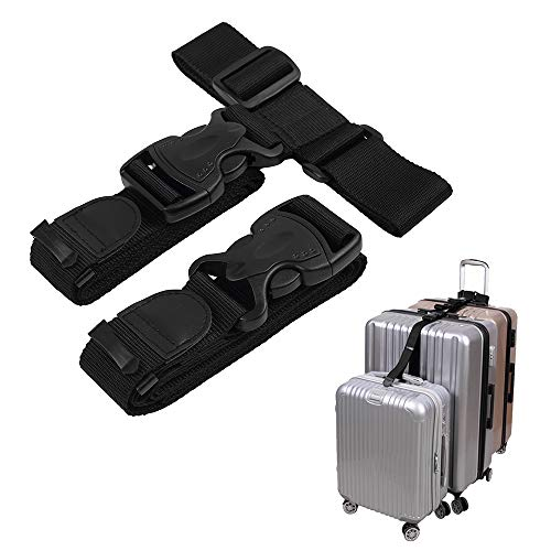 Add a Bag Luggage Strap, Strap Three Suitcases Togther Luggage Accessories,2 Pack (Large -Black)