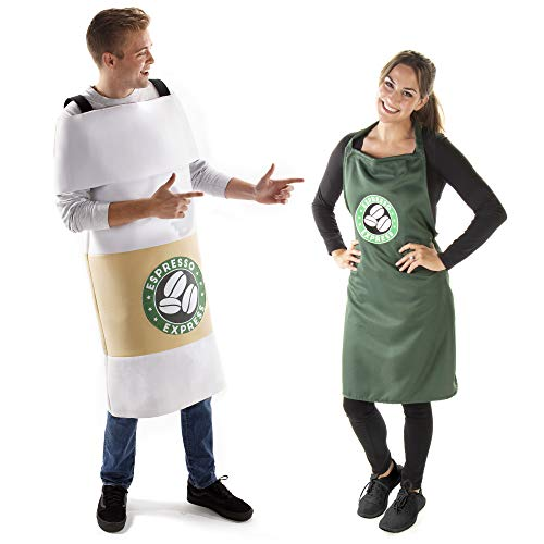 Barista Apron & Latte Coffee Cup Halloween Couples Costume - Funny Adult Outfits