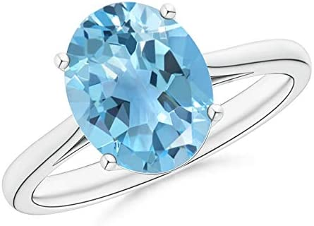 Oval Excellent Solitaire Max 46% OFF Swiss Blue Cocktail Ring 10x8mm Topaz